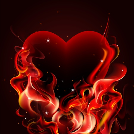 Burning heart on dark background.
