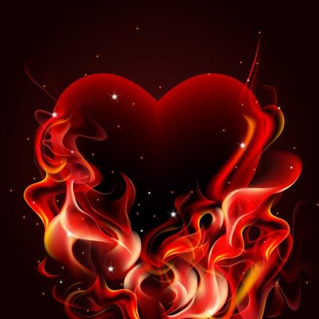 Burning heart on dark background.