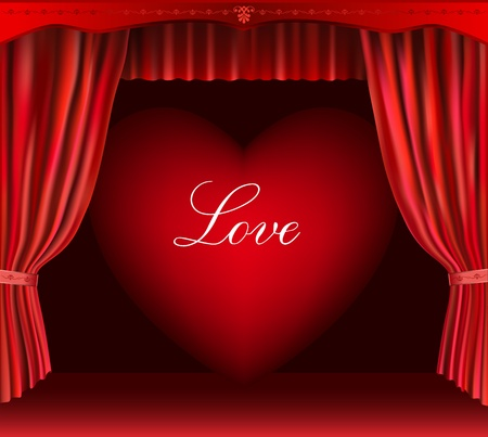 Heart and curtain. Vector