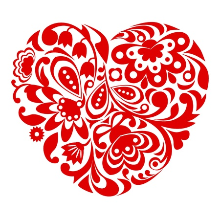 shaped: Red ornamental heart on white background.