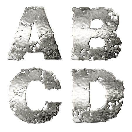 fusing: Metallic alphabet isolated on white background.