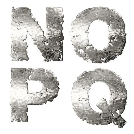metal casting: Metallic alphabet isolated on white background.