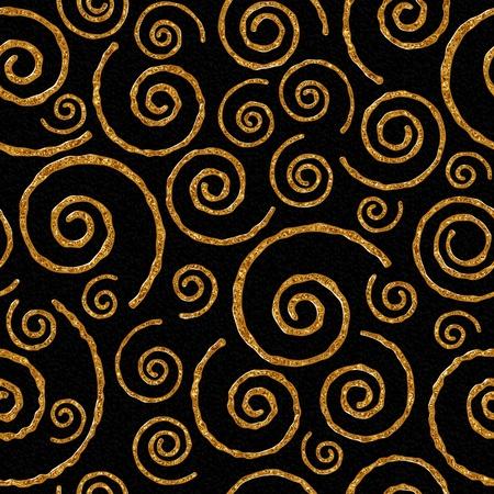 シームレス パターン黒の背景に黄金螺旋と。