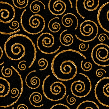 Seamlessly pattern with golden helix on black background.