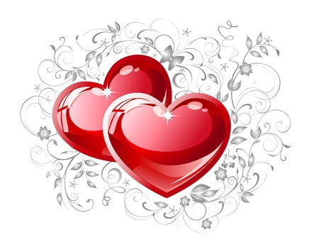 twine: Couple red hearts on white background. Illustration