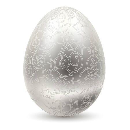 Silver egg on white background. Vector