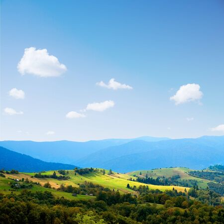 Ukrainian tranquil landscape with meadow and mountains. photo