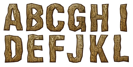 carved letters: Wooden alphabet isolated on white background.