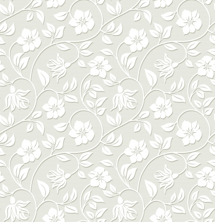 wallpaper pattern: Floral seamless background - pattern for continuous replicate. Illustration