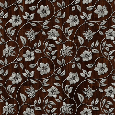 Seamless metal pattern on dark wooden background. photo