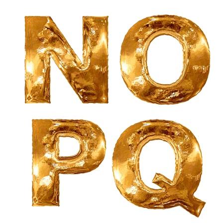 letras doradas: Oro letras metálicas aisladas sobre fondo blanco.