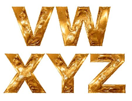 metallic letters: Golden metallic letters isolated on white background. Stock Photo