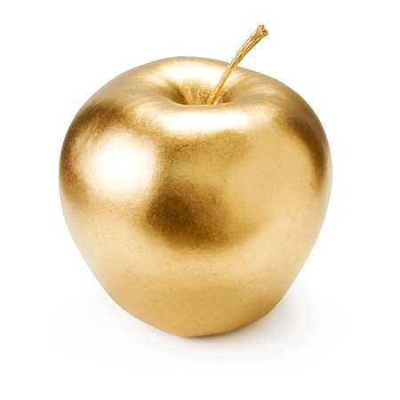 Gold apple isolated on white background Imagens - 12898387