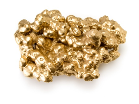 Gold nugget isolated on white background.