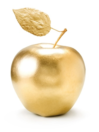 wealth: Gold apple isolated on white background. Stock Photo