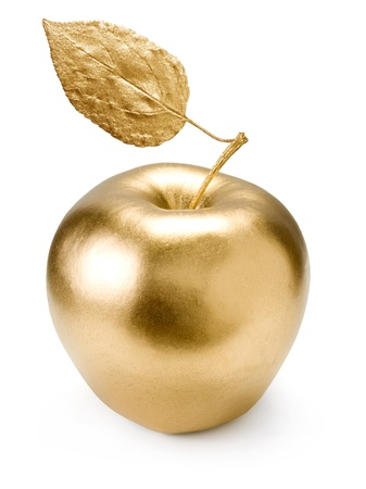 goldish: Gold apple isolated on white background. Stock Photo