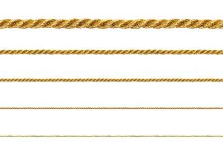 gold string: Seamless golden rope isolated on white background for continuous replicate. Stock Photo