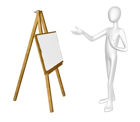 Man with easel isolated on white background. photo