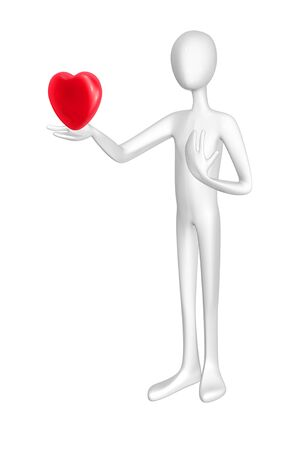 Man and heart isolated on white background. Stock Photo - 12982305
