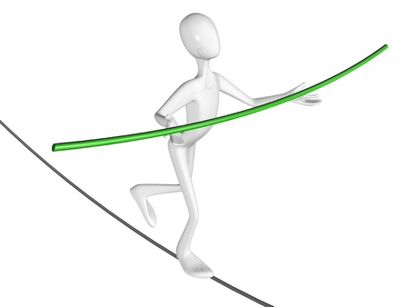 tightrope: Man walk the walk the tightrope isolated on white background. Stock Photo