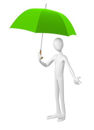 3 d illustrations: Man with umbrella isolated on white background