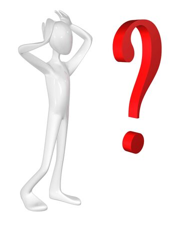 issue: Man and question mark isolated on white background.