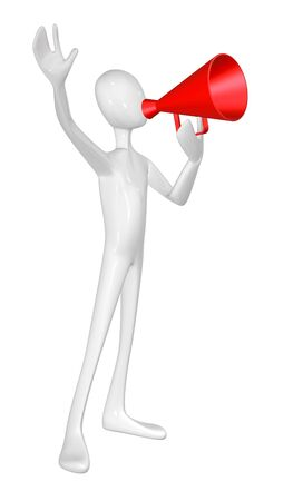 Man with red megaphone isolated on white background. photo