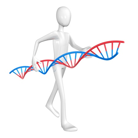 Man and DNA isolated on white background. photo