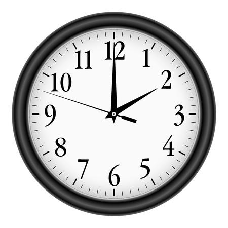 office clock: Reloj de pared en el fondo blanco.