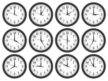 round face: Wall clocks set on white background. Illustration