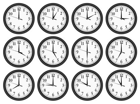 wall clock: Wall clocks set on white background. Illustration