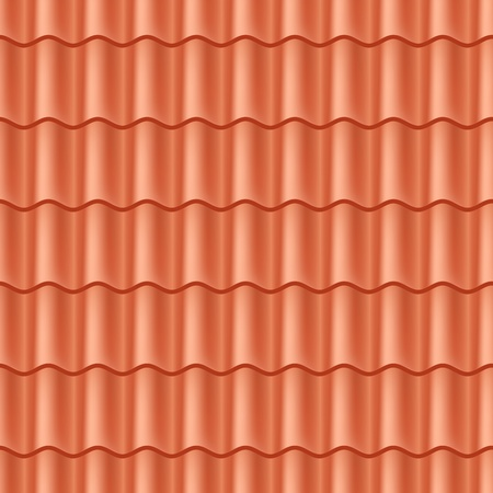 roof top: Seamless terracota roof tile - pattern for continuous replicate. Illustration