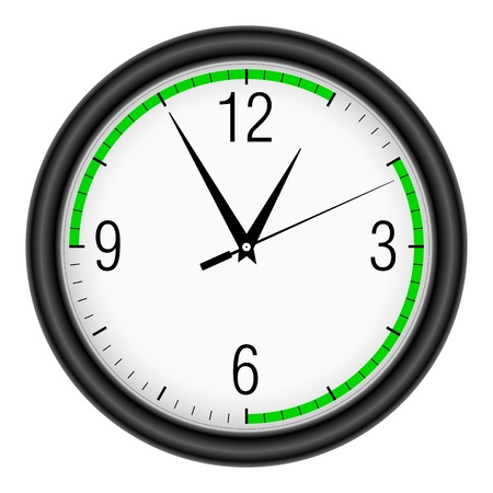recess: Wall clock on white background. (Action time). Illustration