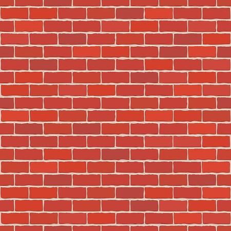 brickwalls: Seamless vector red brick wall - background pattern for continuous replicate. Illustration