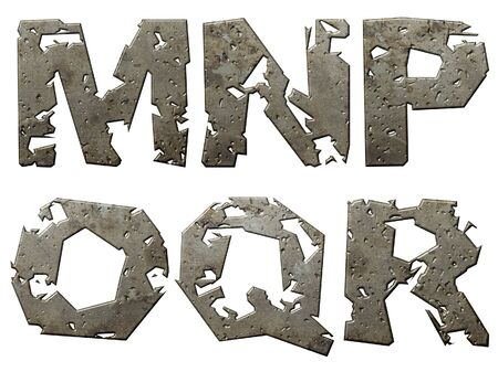 silvery: Iron letters series with torn edge isolated on white background.  Stock Photo