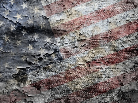 flaking: Grungy American flag background. Stock Photo