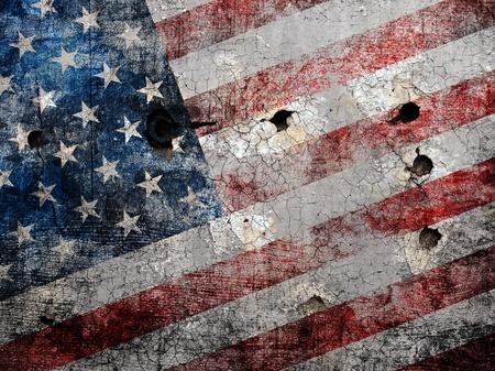 holed: Holed grungy American flag background. Stock Photo