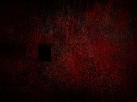 untidily: Red gloomy wall with guarded window.