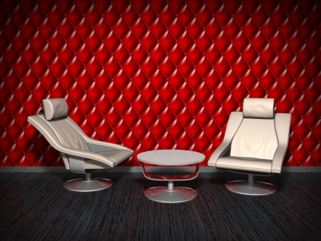 Two leather armchairs on red wall background. photo