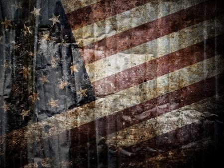 American flag background.