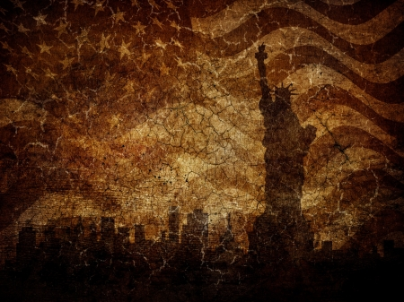 Silhouette statue of liberty on worn background. photo