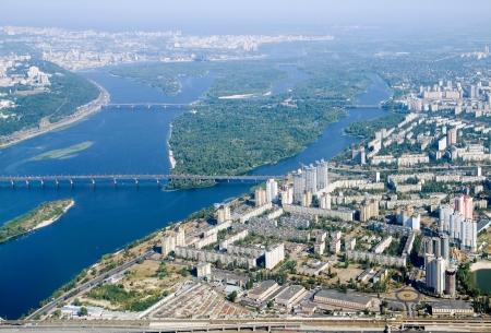 kyiv: Kyiv capital city of Ukraine. Aerial view. Stock Photo