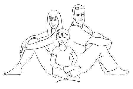 Family - sketch drawing. Vector