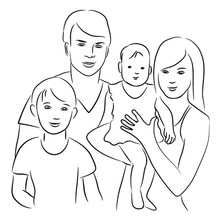 Family - sketch drawing. Illustration