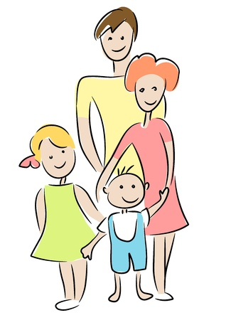 white family: Family - drawing on white background.
