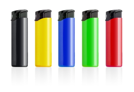 Piezoelectric colorful lighters set isolated on white background  photo
