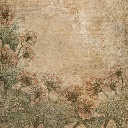 Riscado velho papel com flores de fundo. Banco de Imagens