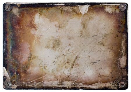 oxidated: Grunge metal plate isolated on white background.