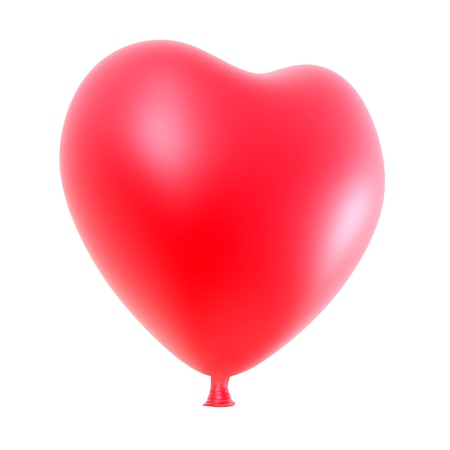 hot love: Heart balloon isolated on white background.