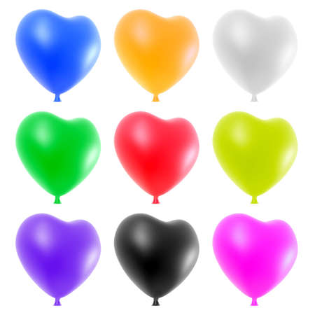 Colorful heart balloons set isolated on white background. photo